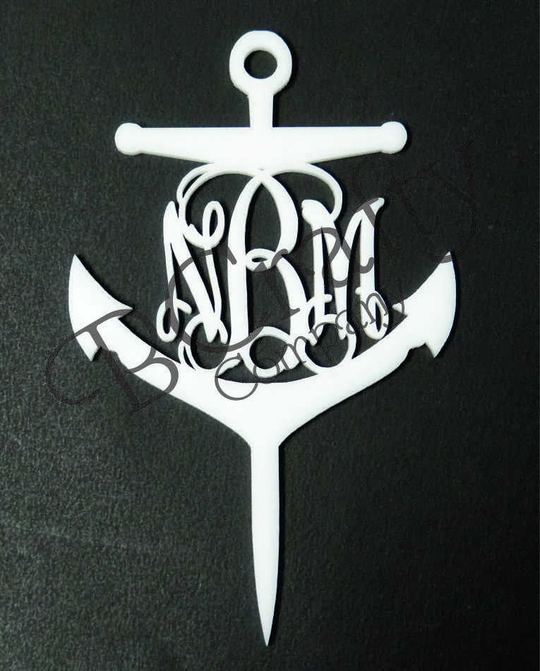 Anchor Monogram Cupcake Topper 6 count - Laser