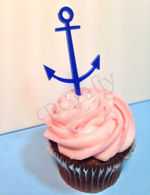 Anchor Cupcake Topper 6 count - Laser