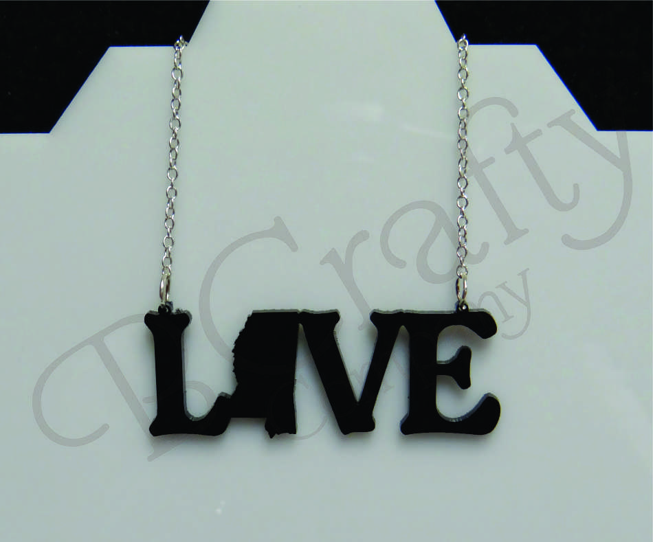 Acrylic LOVE State Shape Necklace