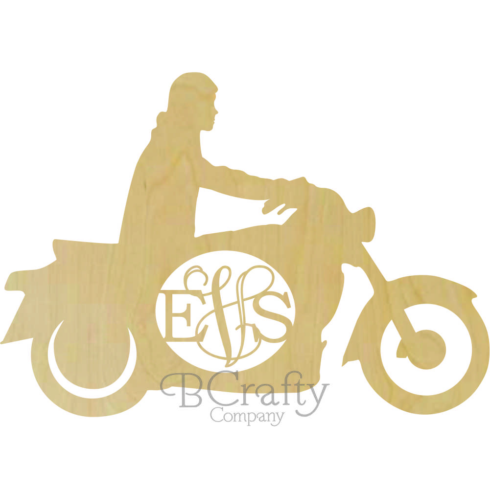 Motorcycle Man Wooden Shape with Monogram Insert