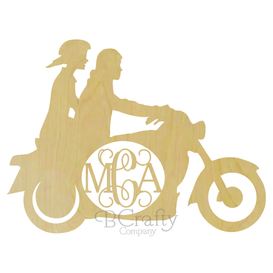 Motorcycle Couple Wooden Shape with Monogram Insert