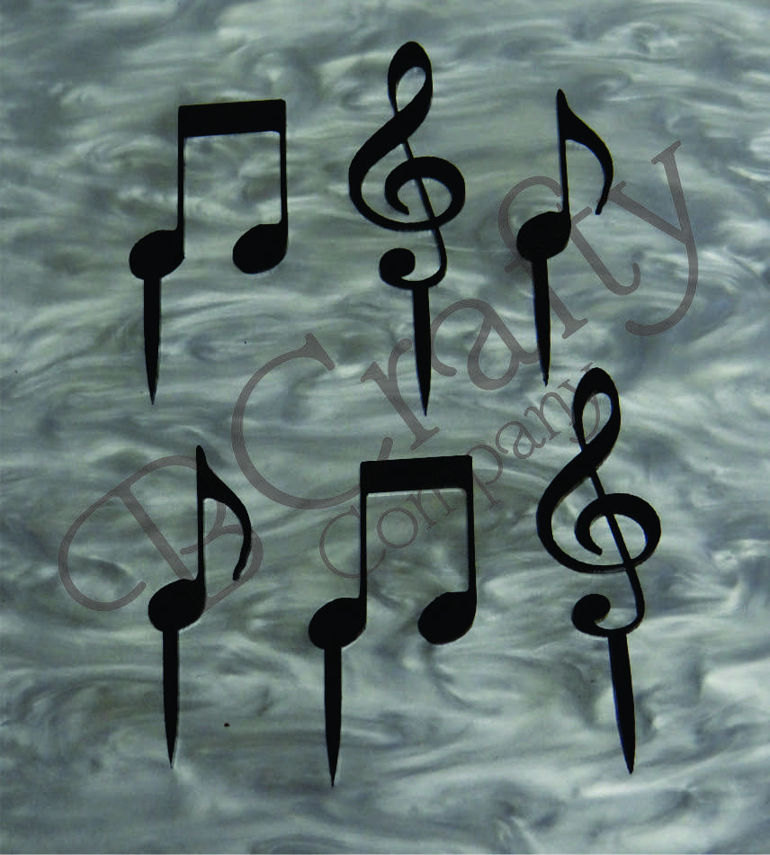 Music Package Cupcake Topper 6 count - Laser