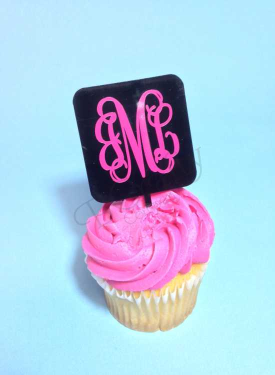 Square Cupcake Topper with Vinyl Monogram 6 count - Laser
