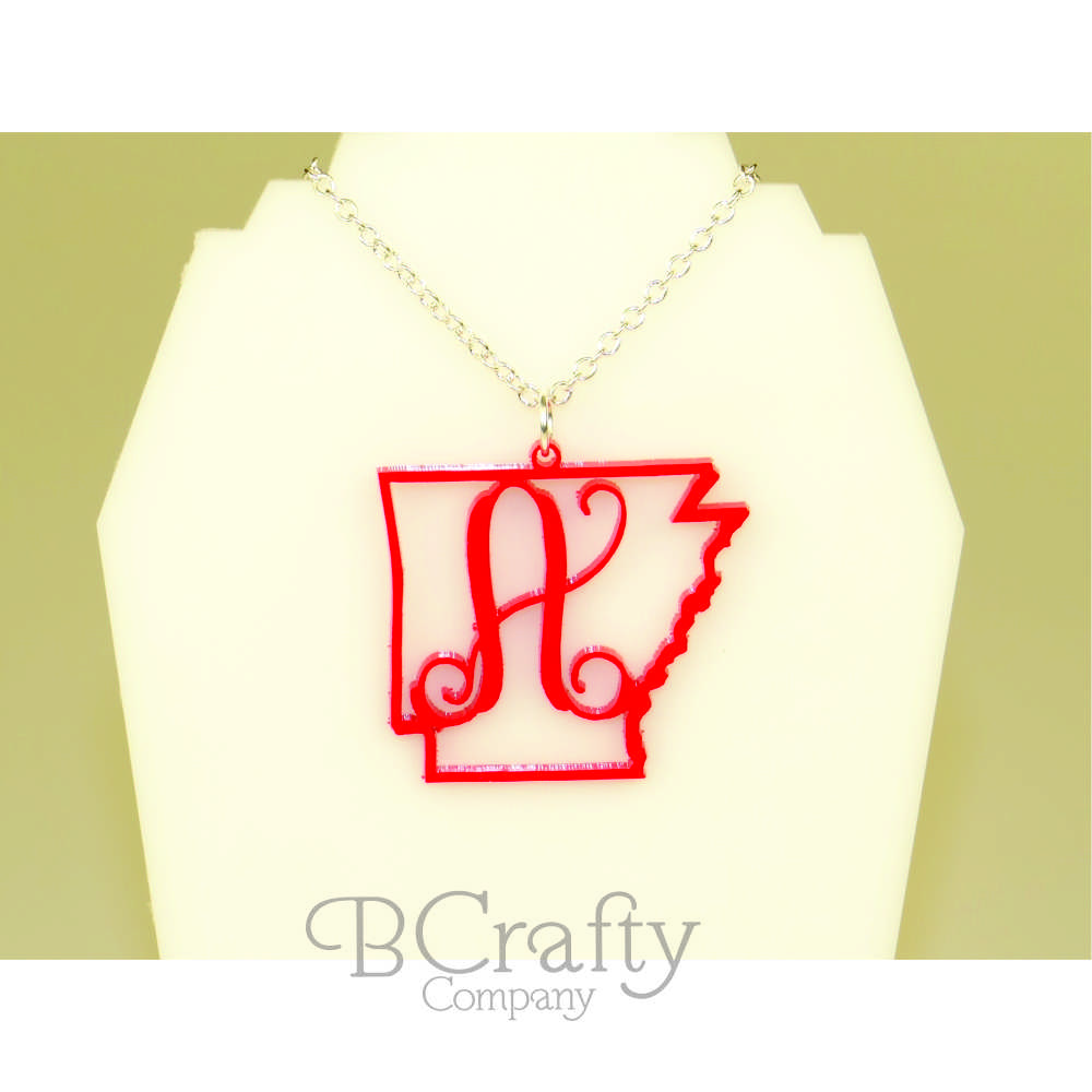 State Shape Border with Single Letter Necklace