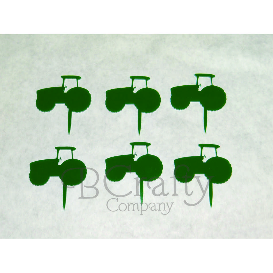 Tractor Cupcake Topper 6 count - Laser