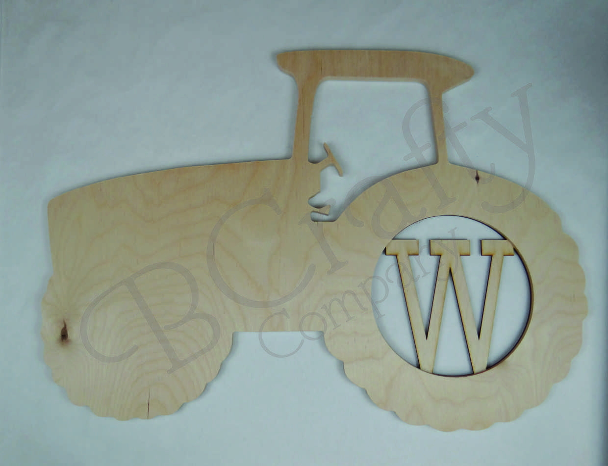 Tractor Wooden Shape with Monogram Insert
