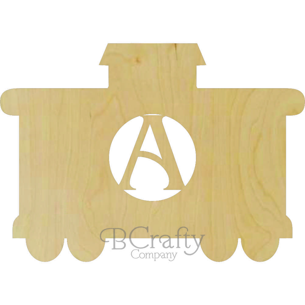 Train Caboose Wooden Shape with Monogram Insert