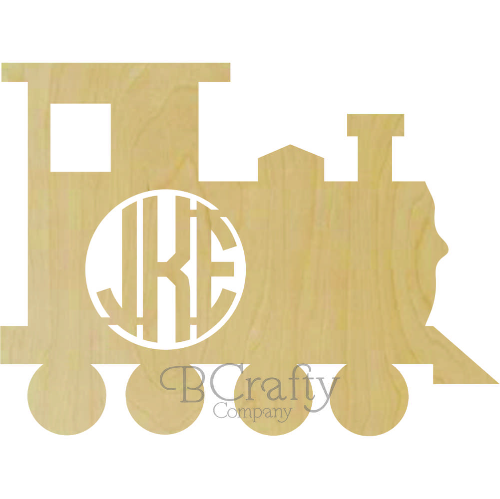 Train Wooden Shape with Monogram Insert